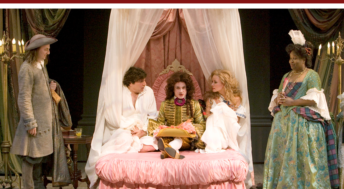 John Keating, Marco Barricelli, Danny Scheie, Caralyn Kozlowski, and Kimberly Scott in Amy Freed's <em>Restoration Comedy at The Old Globe</em>