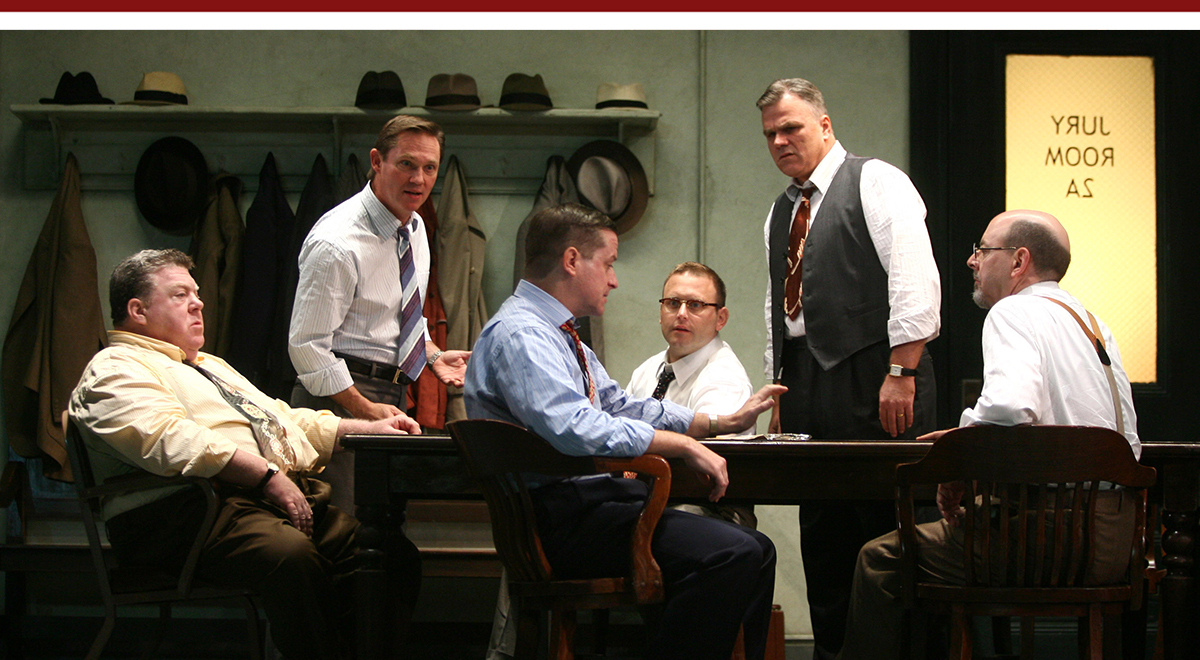 The cast of 'Twelve Angry Men' at the Ahmanson Theatre
