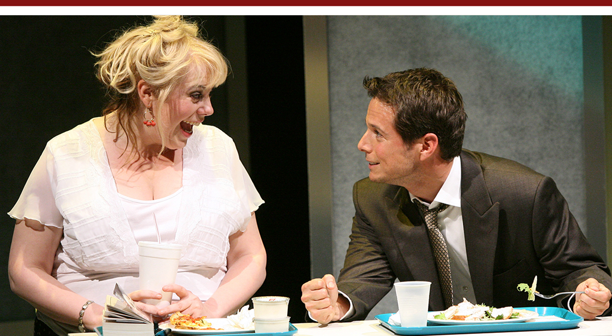 Kirsten Vangsness and Scott Wolf in Fat Pig at Geffen Playhouse, photo by Michael Lamont