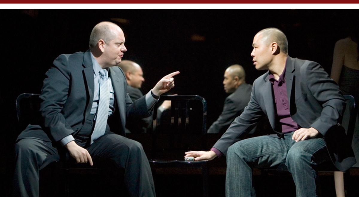Tony Torn and Hoon Lee in the premiere of David Henry Hwang's 'Yellow Face' at the Mark Taper Forum, photo by Craig Schwartz