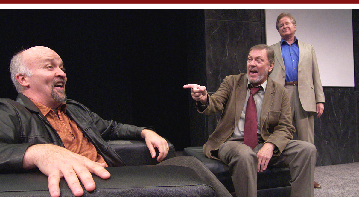 John Herzog, Steve Vinovich, and Kyle Coleridger-Krugh in 'Art' at Laguna Playhouse. Photo by Christopher Trela