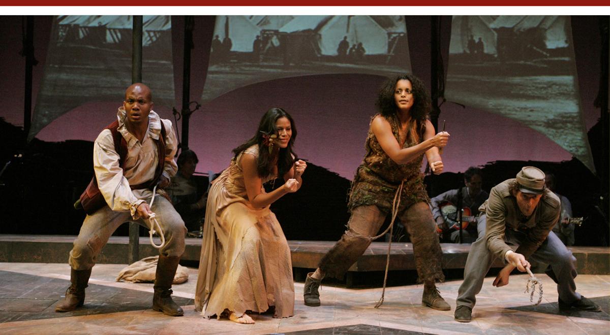 Leonard Roberts, Merle Dandridge, Moe Daniels, and Ken Barnett in 'Atlanta' at the Geffen Playhouse, photo by Michael Lamont
