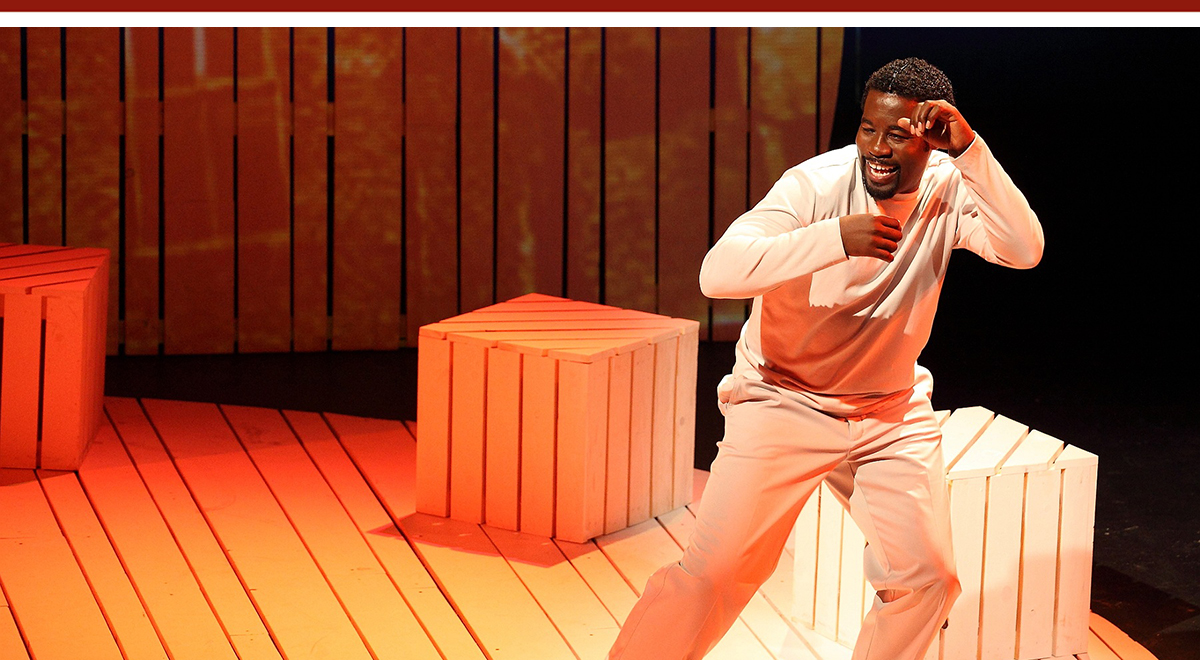 Daniel Beaty in 'Through the Night' at the Geffen Playhouse. Photo by Sherry Rubel