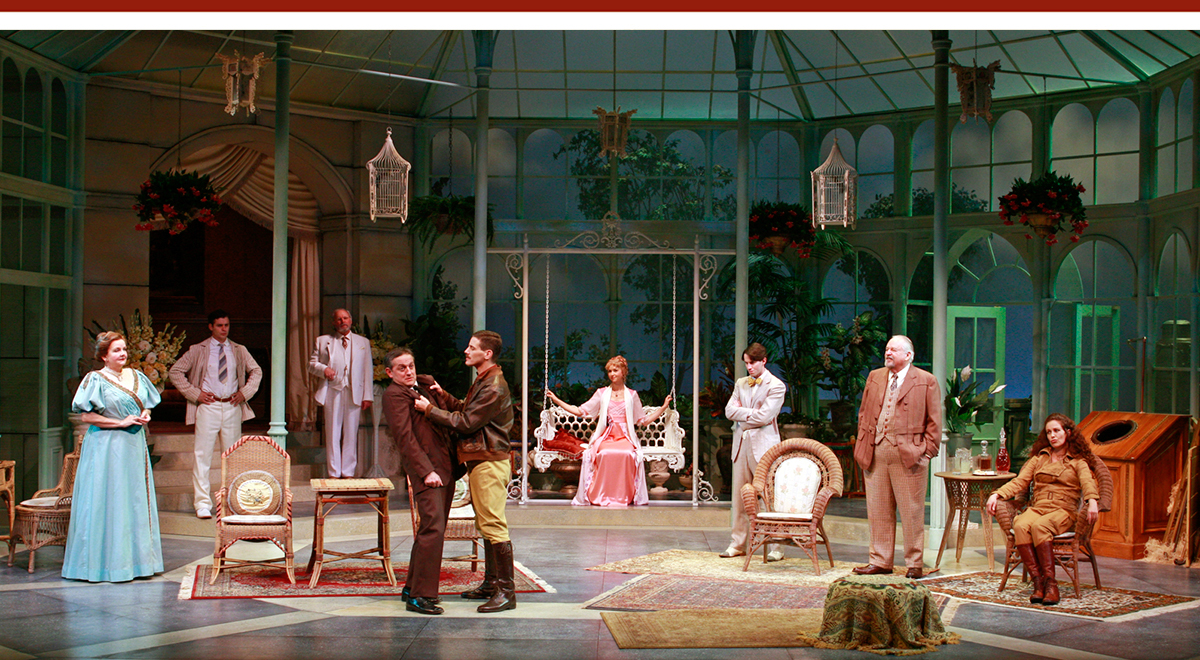 The nine-member cast of South Coast Repertory's 'Misalliance' on Ralph Funicello's set. Photo by Henry DiRocco