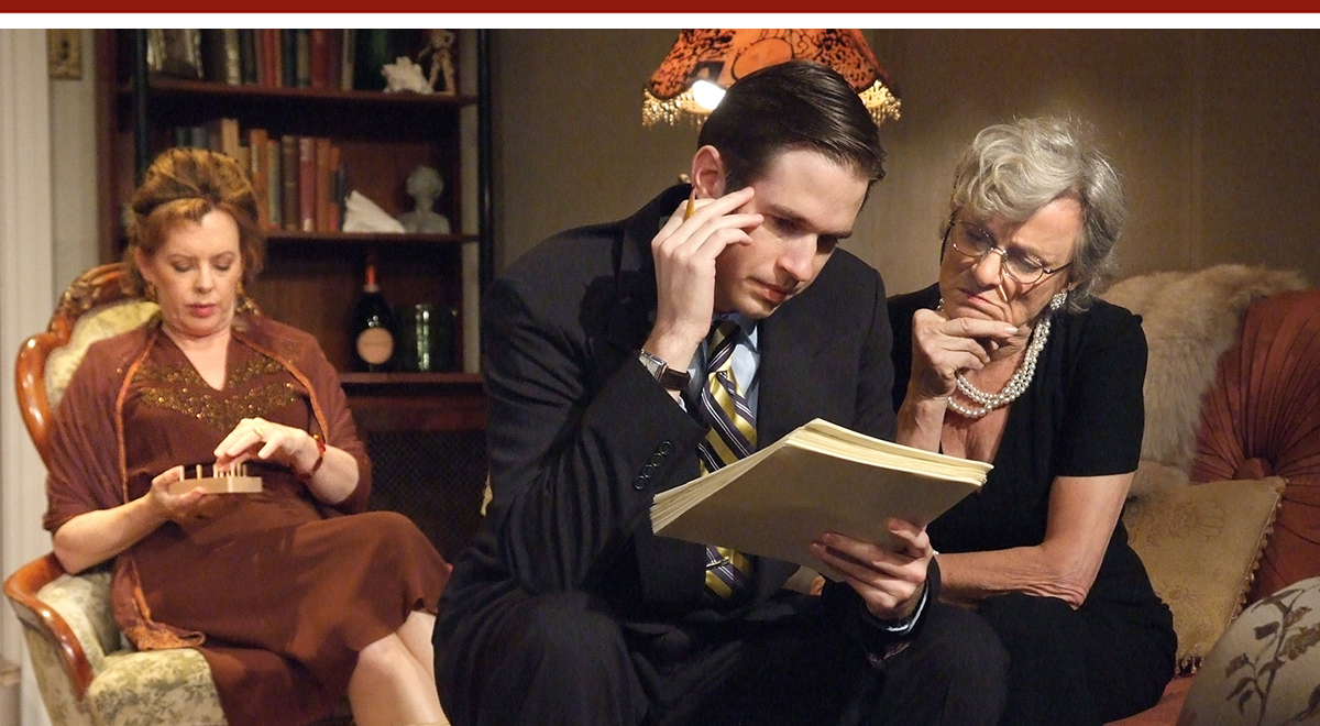 Jeanie Hackett, Joe Delafield and Anne Gee Byrd in 'The Autumn Garden' at  Antaeus Theatre Company. Photo by Ed Krieger