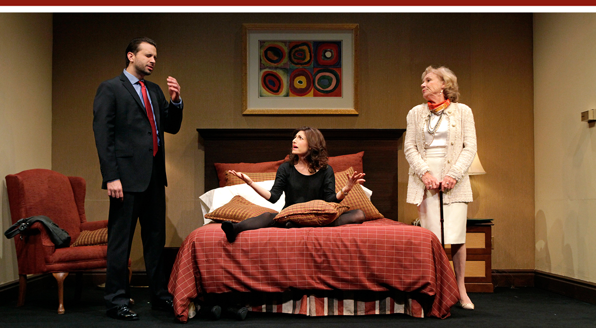 Brian Avers, Tessa Auberjonois and Barbara Tarbuck in 'Becky Shaw' at South Coast Repertory. Photo by Henry DiRocco