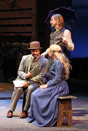 Larry Bates, Adam Haas Hunter (standing) and Lily Holleman in Beth Henley's Abundance at South Coast Repertory