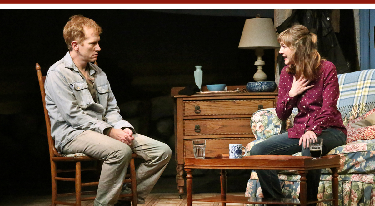 Dan Donohue and Jessica Collins in John Patrick Shanley's 'Outside Mullingar' at the Geffen Playhouse. Photo by Michael Lamont