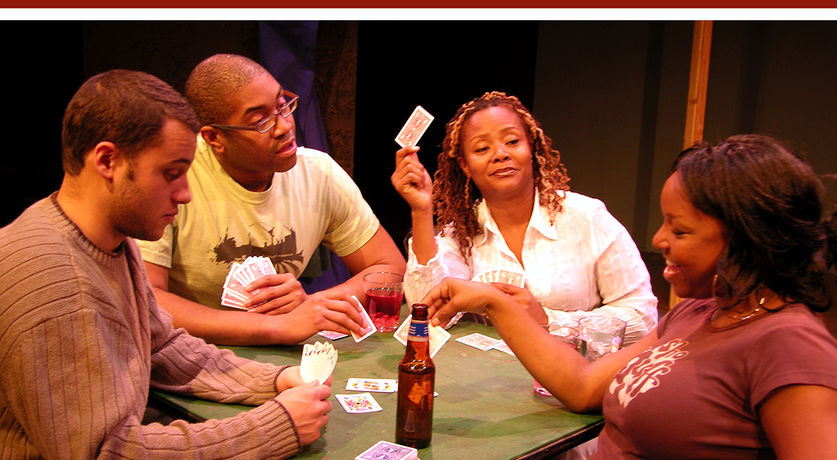 Andrew Kelsey, Paul Oakley Stovall, Tonya Pinkins, and J. Nicole Brooks in Stovall's 'As Much as You Can' at Celebration Theatre. Photo by David Elzer