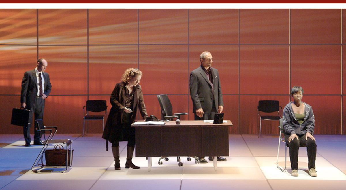 Andrew Borba, Ashley West Leonard, Thomas Fiscella and Erica Tazel in 'Tranced' at Laguna Playhouse. Photo by Ed Krieger