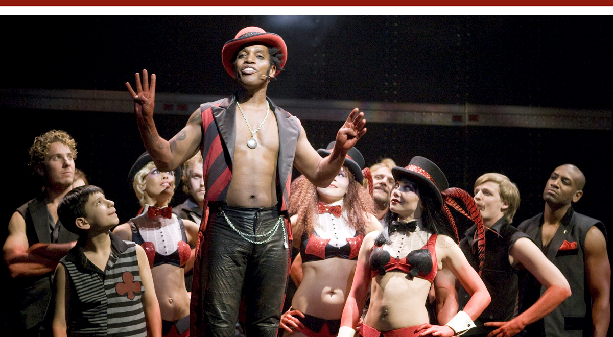 Ty Taylor, center, and the cast of Pippin' at the Mark Taper Forum. Photo by Craig Schwartz