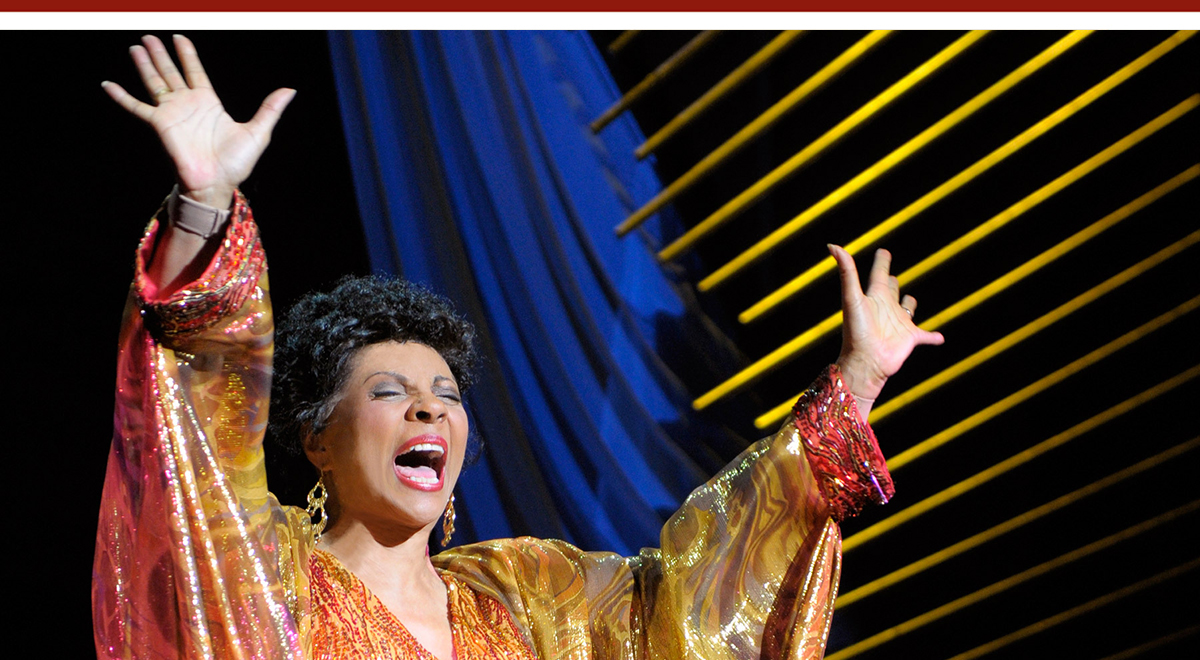 Leslie Uggams as Lena Horne in 'Stormy Weather' at Pasadena Playhouse. Photo by Kevin Berne