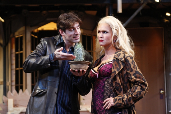 Kaleo Griffith and Jenn Lyon in 'Noises Off' at South Coast Repertory.