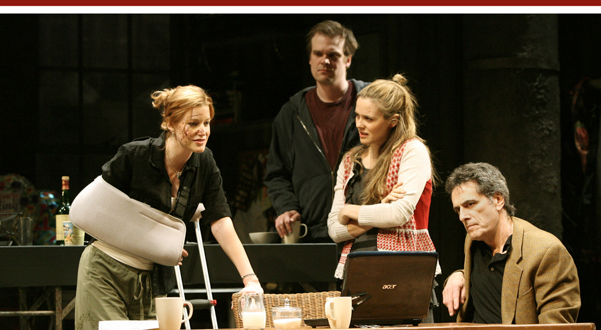 Anna Gunn, David Harbour, Alicia Silverstone, and Robin Thomas in 'Time Stands Still' at the Geffen Playhouse. Photo by Michael Lamont