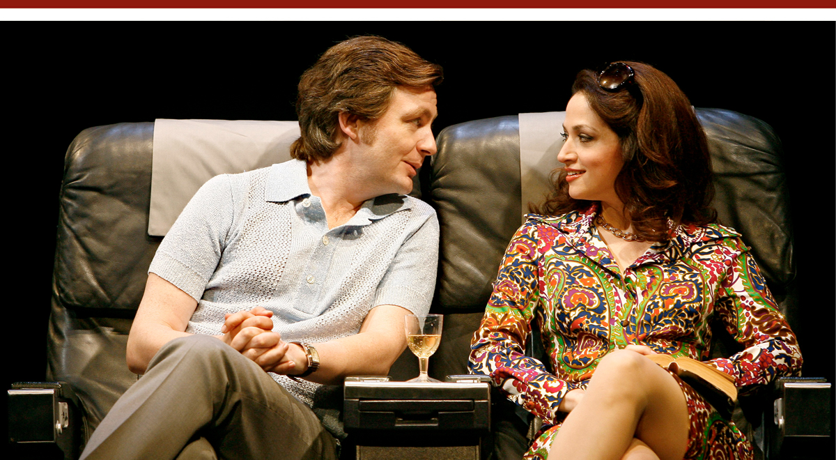 Alan Cox and Roxanna Hope in 'Frost/Nixon/ at the Ahmanson Theatre. Photo by Carol Rosegg