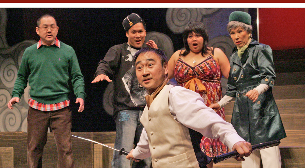 Gedde Watanabe, front, with Aaron Takahashi, Dante Basco, Ellen D. Williams and June Kyoko Lu in 'Ixnay' at East West Players. Photo by Michael Lamont