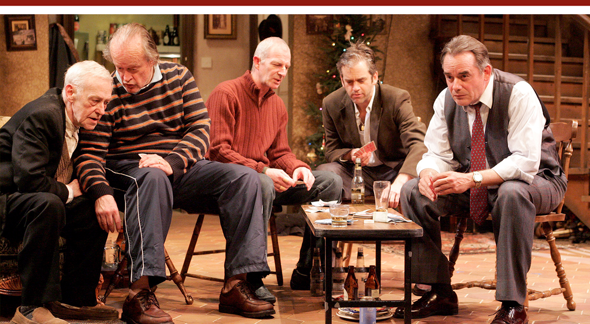 John Mahoney, Paul Vincent O'Connor, Andrew Connolly, Matt Roth and Tom Irwin in 'The Seafarer' at Geffen Playhouse. Photo by Michael Lamont.