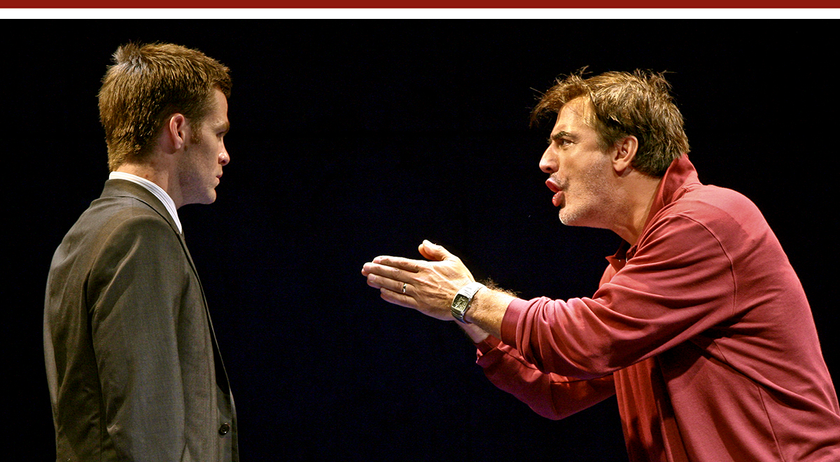 Chris Pine and Chris Noth in 'Farragut' at Geffen Playhouse. Photo by Michael Lamont