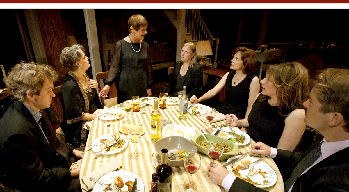 Stephen Riley Key, Libby George, Estelle Parsons, Angelica Torn, Shannon Cochran, Amy Warren and Laurence Lau in 'August: Osage County' at the Ahmanson Theatre. Photo by Robert J. Saferstein