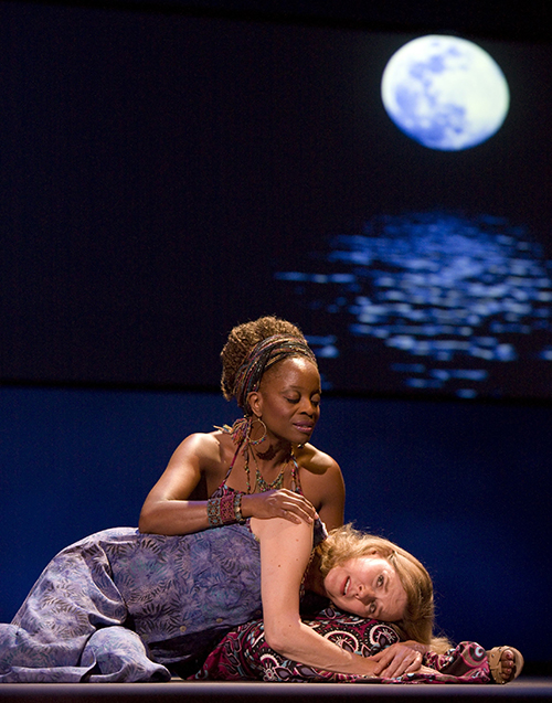 JoBeth Williams and Sybyl Walker in 'The Night is a Child' at Pasadena Playhouse. Photo by Craig Schwartz