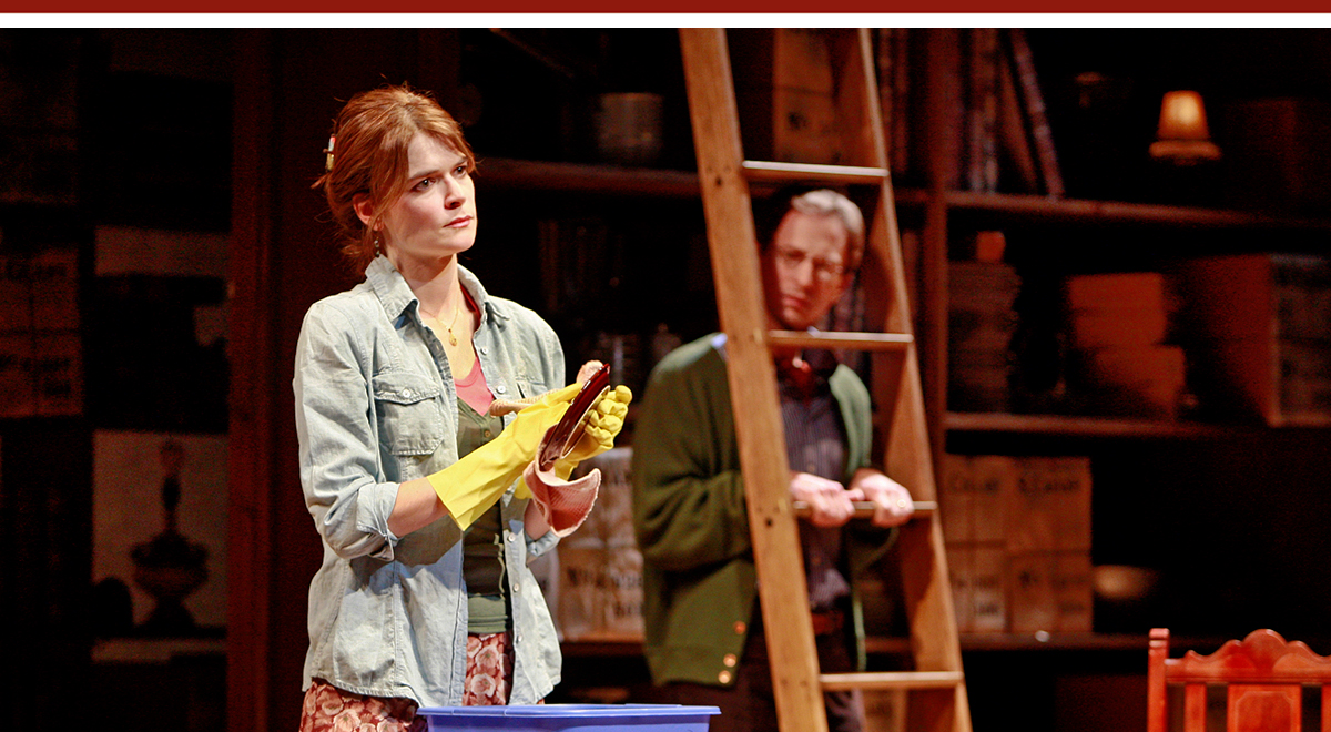Betsy Brandt and Leo Marks in Julia Cho's 'The Language Archive' at South Coast Repertory. Photo by Henry DiRocco.