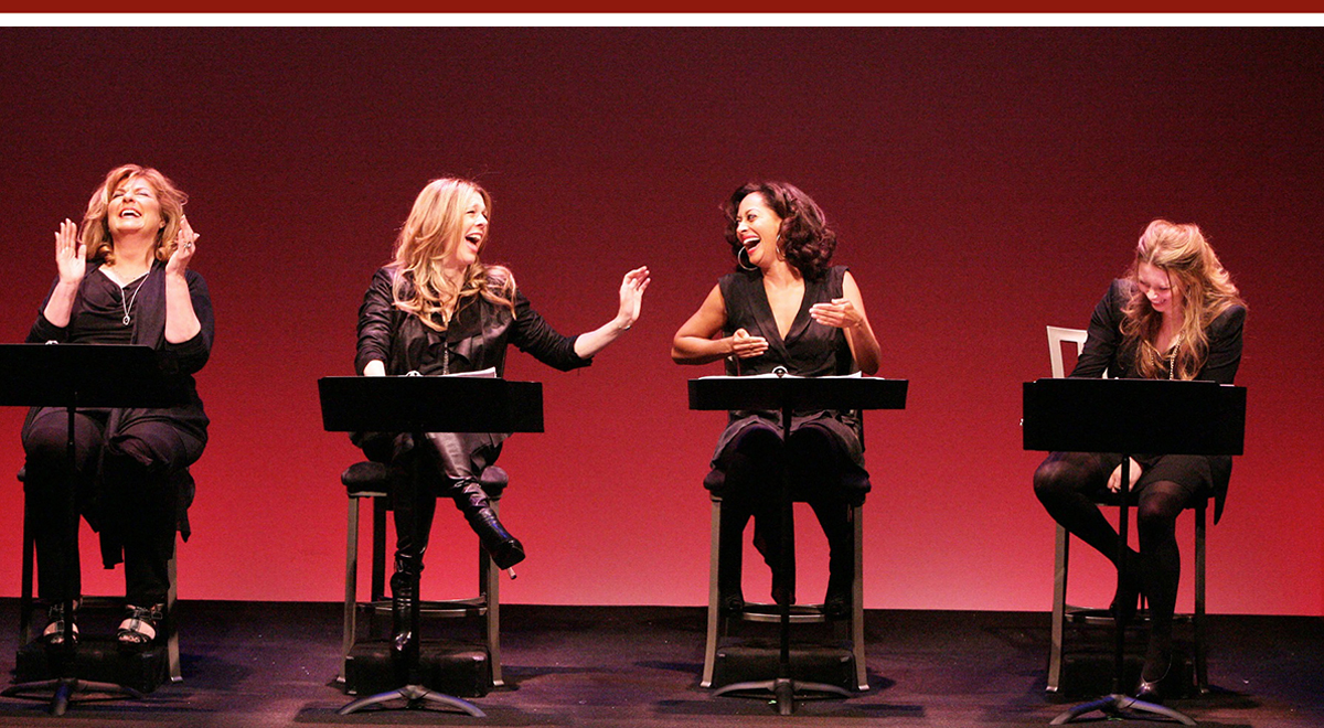 Caroline Aaron, Rita Wilson, Tracee Ellis Ross and Natasha Lyonne in 'Love, Loss and What I Wore' at the Geffen. Photo by Michael Lamont