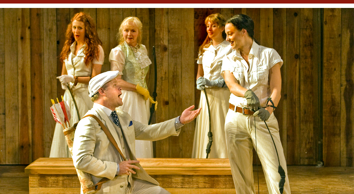 Mike Ryan and Dana Green (foreground), with Alexandra Trow, Marion Adler, and Sherill Turner in 'Love's Labours Lost' at Shakespeare Santa Cruz. Photo by rr jones
