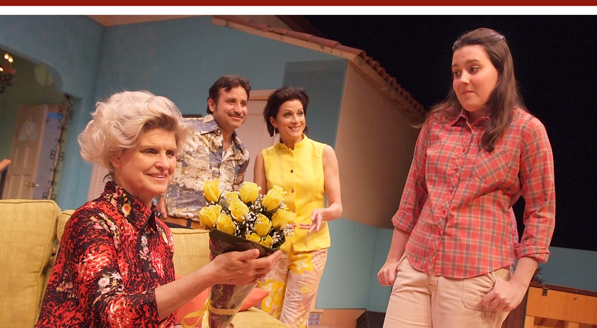 Maria Cellario, Chaz Mena, Saundra Santiago and Katharine Luckinbill in 'Alexandros' at Laguna Playhouse. Photo by Ed Krieger