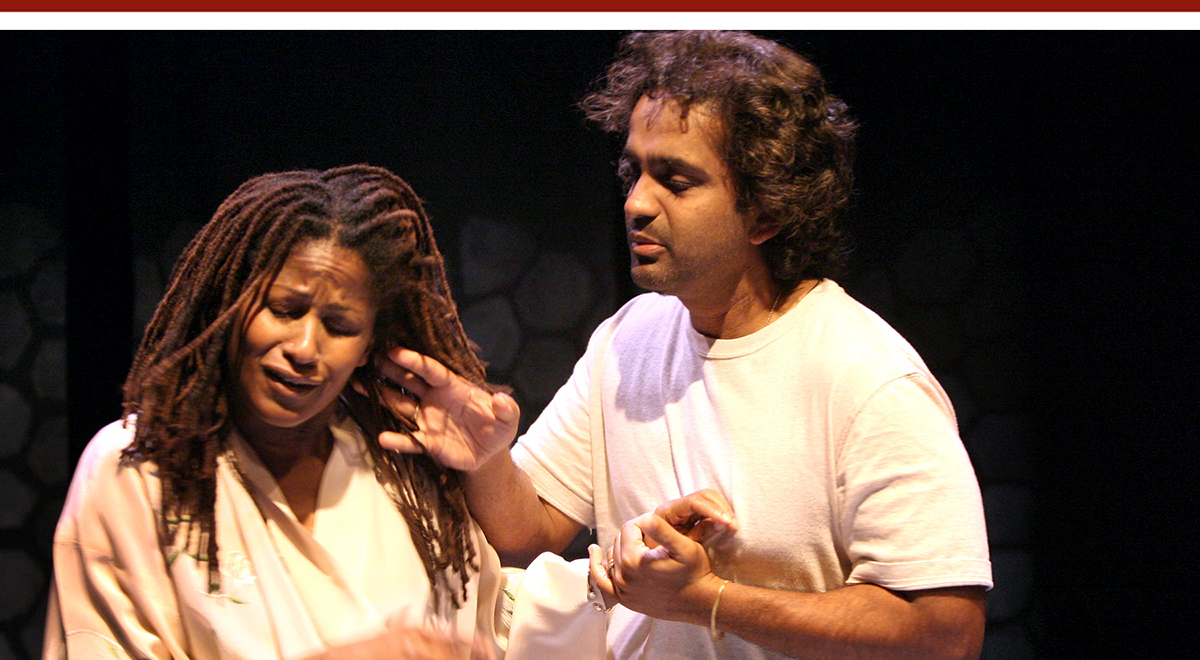 Bahni Turpin and Shishir Kurup in 'Someday' at Cornerstone Theater Company. Photo by Michael Lamont