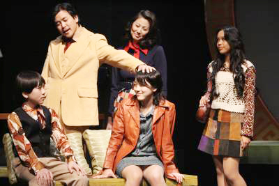 Michael Sun Lee, Pam Hayashida, Ariel Rivera, Saya Tomioka and Shawn Huang in 'Be Like Water' at East West Players. Photo by Michael Lamont