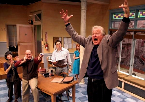 Denise Moses, Joel Polis, Chris L. McKenna, Emily Eiden and Steve Vinovich in 'Don't Talk to the Actors' at Laguna Playhouse. Photo by Ed Krieger