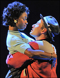 Montego Glover and Chad Kimball in 'Memphis' at the La Jolla Playhouse. Photo by JT Macmillan