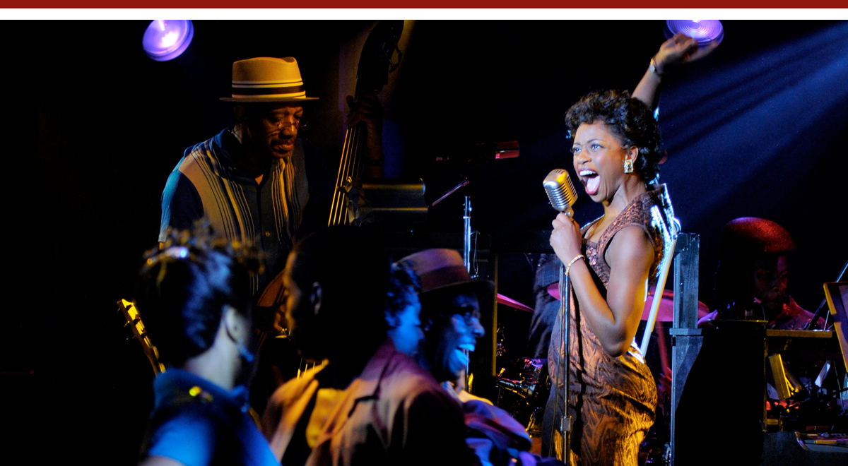 Montego Glover (singing) in 'Memphis' at the La Jolla Playhouse. Photo by JT Macmillan