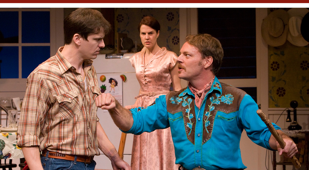 Ross Hellwig, Bridget Flanery and Bo Foxworth in 'The Rainmaker' at A Noise Within. Photo by Craig Schwartz