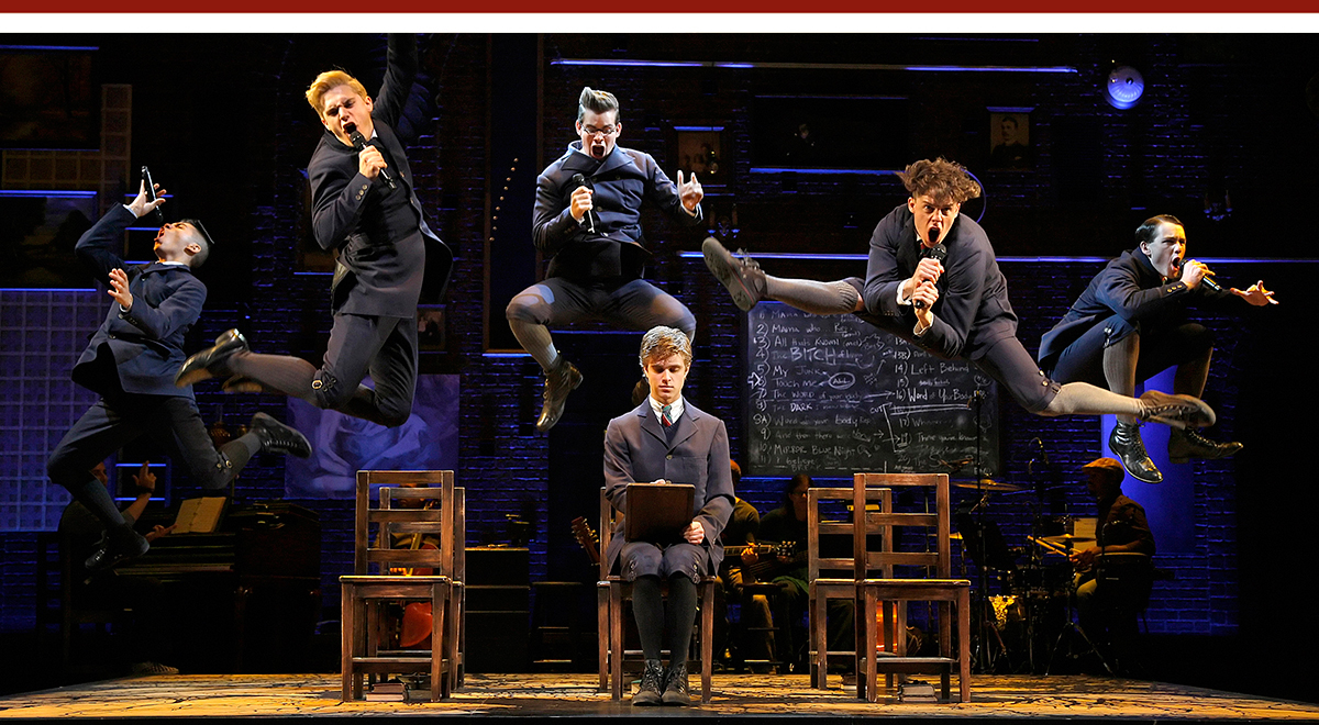 Anthony Lee Medina, Andy Mientus, Matt Shingledecker, Kyle Riabko, Blake Bashoff and Ben Moss in 'Spring Awakening' at the Ahmanson Theatre. Photo by Paul Kolnik