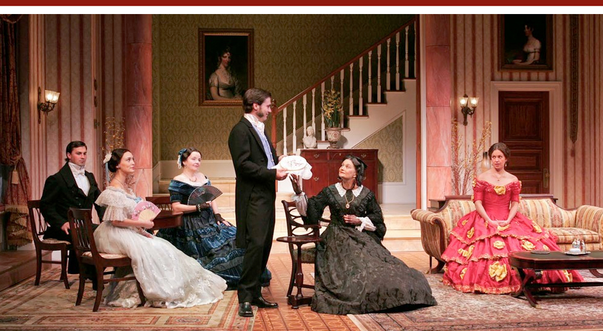 Branden McDonald, Rebecca Mozo, Amelia WhiteMichael A. Newcomer, Lynn Milgrim and Kirsten Potter in 'The Heiress' at South Coast Repertory. Photo by Henry DiRocco