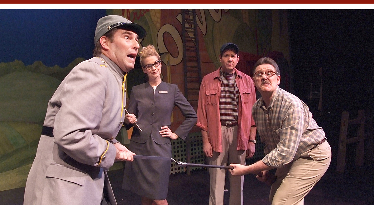 Roy Abramsohn, JJ Rodgers, Kevin Symons and Gregory North in 'Leaving Iowa' at Laguna Playhouse. Photo by Ed Krieger