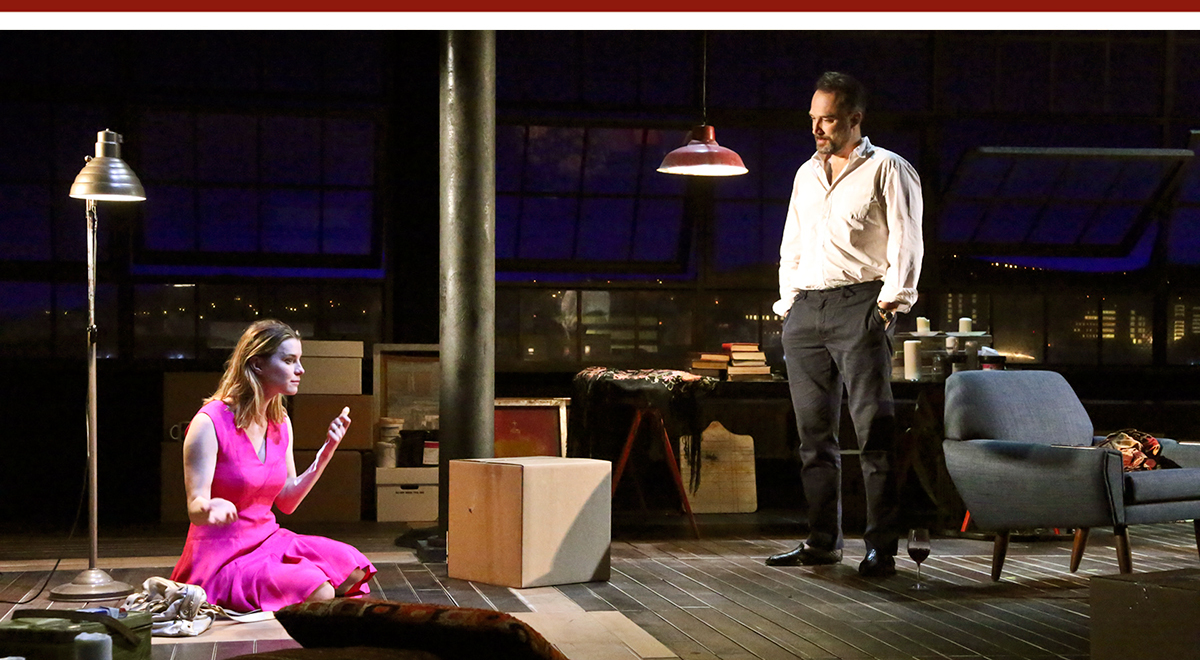 Betty Gilpin and Carlos Leal in Bess Wohl's 'Barcelona,' directed by Trip Cullman at the Geffen Playhouse. Photo by Michael Lamont