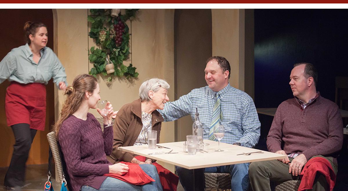 Jennifer Pollono, Rebecca Larsen, Anne Gee Byrd, Matthew Elkins and Rob Nagle in 'Pocatello' at Rogue Machine Theatre. Photo by John Perrin Flynn