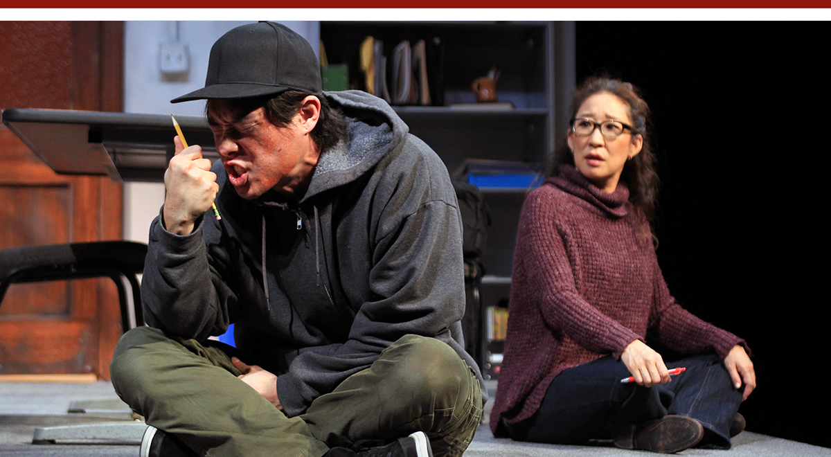 Raymond Lee and Sandra Oh in Julia Cho's 'Office Hour' at South Coast Repertory. Photo by Debora Robinson