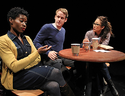 Sola Bamis, Corey Brill and Sandra Oh in Julia Cho's 'Office Hour' at South Coast Repertory. Photo by Debora Robinson