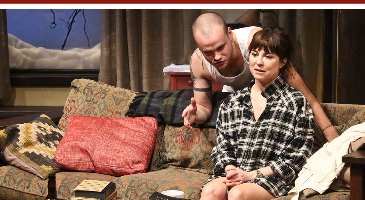 Stephen Louis Grush and Rebecca Pidgeon in 'Sex with Strangers' at the Geffen Playhouse.. Photo by Michael Lamont