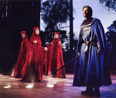Carolyn Stone, Melissa Condren, Leah Zhang and Tom Hammond as Macbeth in The Old Globe's Summer Shakespeare Festival production of 'Macbeth,' directed by Paul Mullins. Photo by Craig Schwartz.
