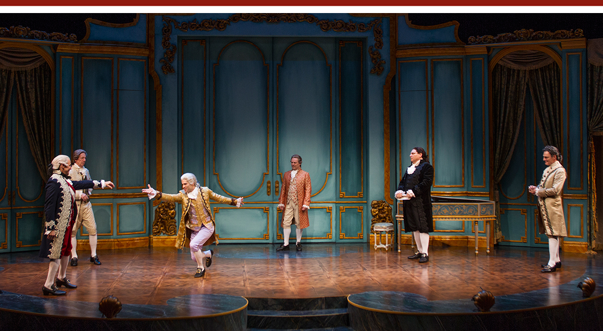 Peter Frechette, Geoffrey Wade, Asher Grodman, Bo Foxworth, Marco Barricelli and Mark Capri in 'Amadeus' at South Coast Repertory. Photo by Debora Robinson