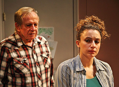 Sam Anderson and Hillary Schwartz in Julie Marie Myatt's 'John is a Father' at Road Theatre. Photo by Michele Young