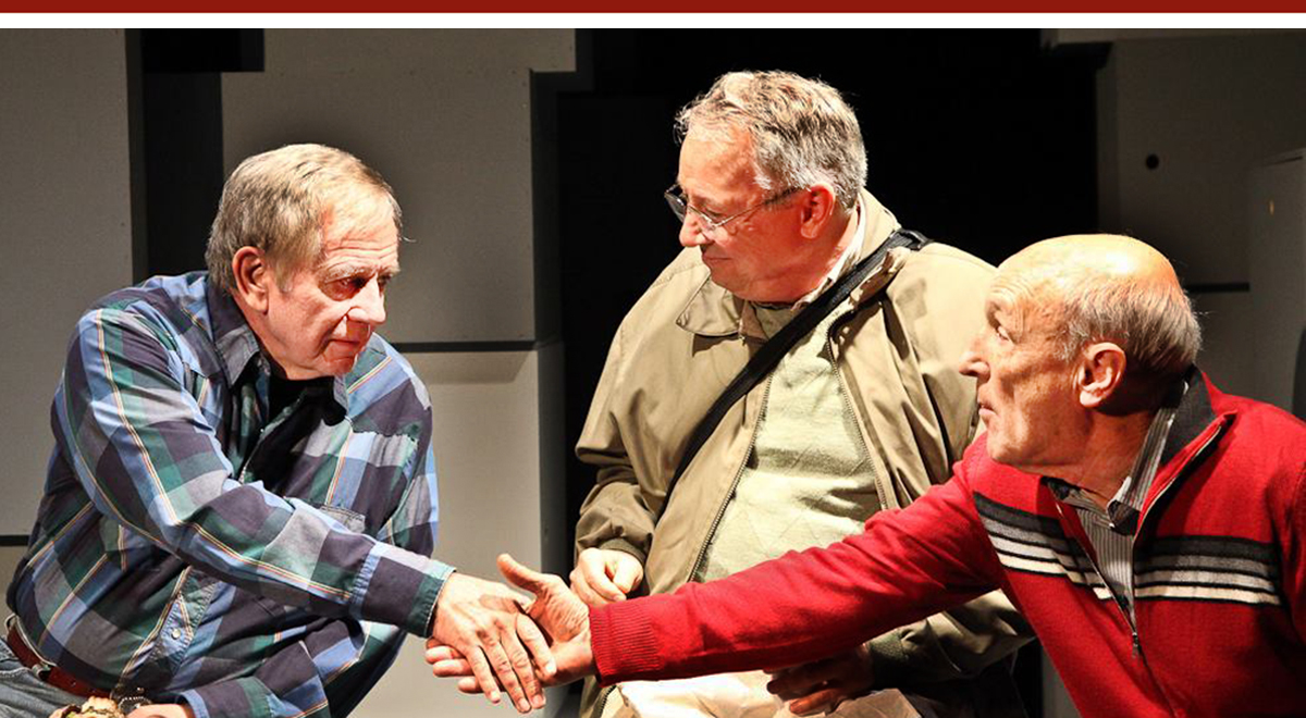 Sam Anderson, Carl J. Johnson and John Gowans in 'John is a Father' by Julie Marie Myatt at The Road Theatre. Photo by Michele Young