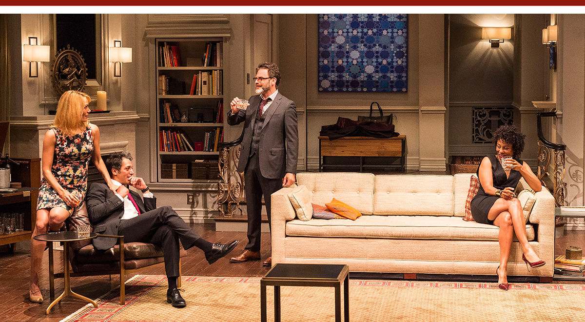 Emily Swallow, Hari Dhillon,  J Anthony Crane and Karen Pittman in 'Disgraced' at the Mark Taper Forum. Photo by Craig Schwartz