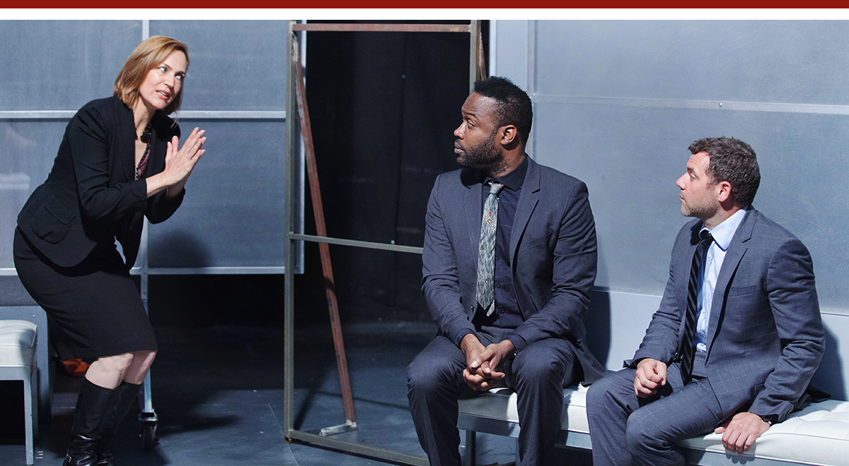 Lesley Fera, Kevin Daniels and Joshua Bitten in Mike Bartlett's 'Bull' at Rogue Machine Theatre. Photo by John Perrin Flynn