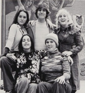 Newport Harbor High School's 1977 Thespian Officers, with Leslie and Mark Rucker, top left and center.