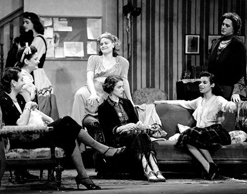 Mark Rucker's 'Stage Door' at Yale: Declan Lane, Julie Lawrence, Brendan Corballis, Roxanna Augesen, Sarah Knowlton, Karen A. Bishop, Reg Rogers. Photo by Gerry Goodstein